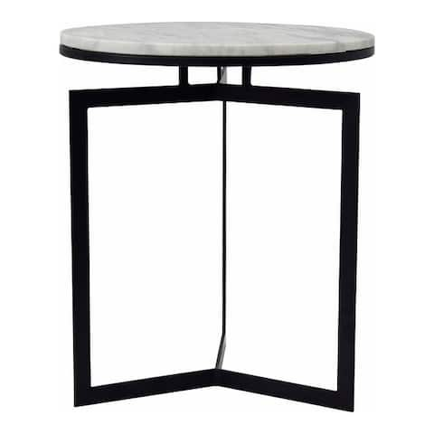 Aurelle Home Modern Marble Top and Iron Base Round Accent Table