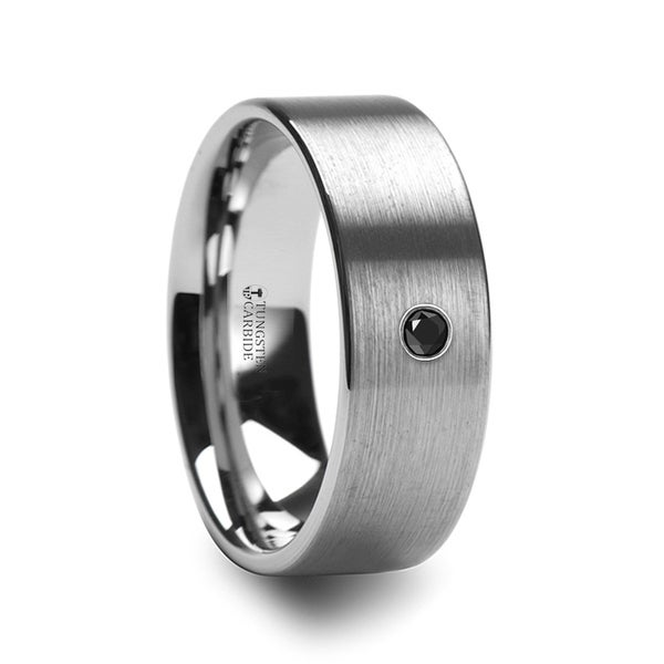 THORSTEN - IRENAEUS Flat Brushed Tungsten Men's Wedding Ring with Black Diamond