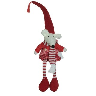 """15"""" Plush Red and White Striped Sitting Christmas Boy Mouse with Heart Decoration"""