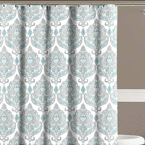 Teal Grey White Canvas Fabric Floral Damask with Geometric Border