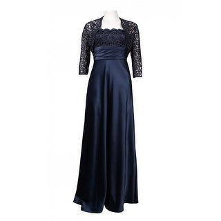 Link to Adrianna Papell Metallic Lace Trim Pleated Waist Satin Dress, Navy, 6 Similar Items in Dresses