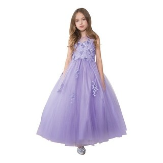 Calla Collection Girls Lilac Mesh Floral Applique Pageant Dress