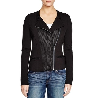 Three Dots Womens Blazer Mesh Pleated