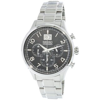 Seiko Men's Silver Stainless-Steel Japanese Chronograph Diving Watch