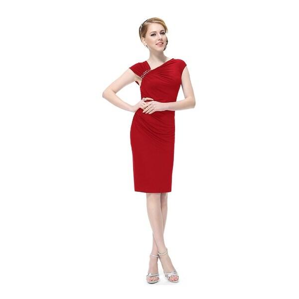 Shop Red Sheath Knee Length Cap Sleeves Cocktail Dress