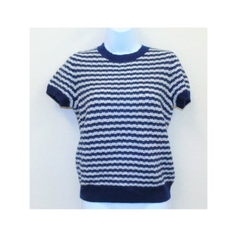 C Womens Navy Cashmere Striped Short Sleeve Crew Neck Sweater Size S