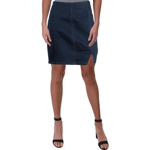 Free People Womens Mini Skirt Denim Split Hem