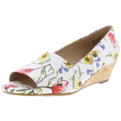 Aerosoles Womens Application Wedges Floral Print Peep Toe - White/Floral - 8 Medium (B,M)
