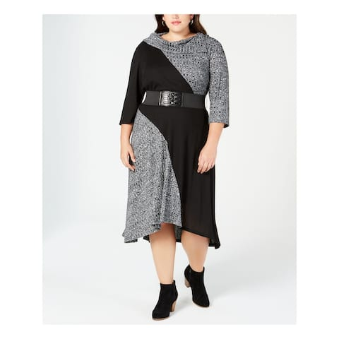 ROBBIE BEE Womens Black Color Block 3/4 Sleeve Midi Dress Size 2X