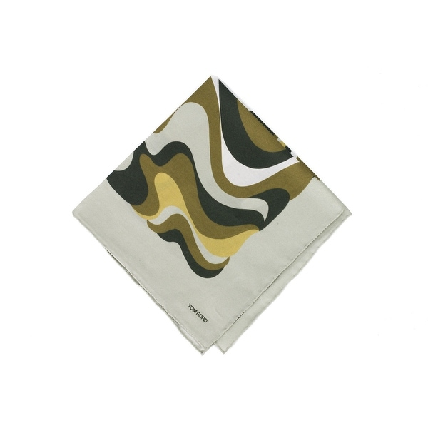 Tom Ford Pale Grey Abstract Swirl Print Pocket Square