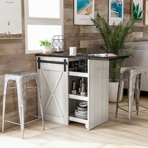 Furniture of America Aimmy Contemporary White Oak Expandable Buffet