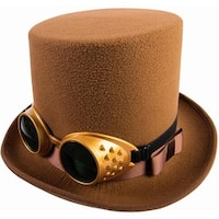 Steampunk Brown Top Hat W/Goggles Costume Accessory