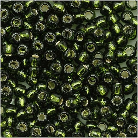 Toho Round Seed Beads 8/0 37 'Silver Lined Olivine' 8 Gram Tube