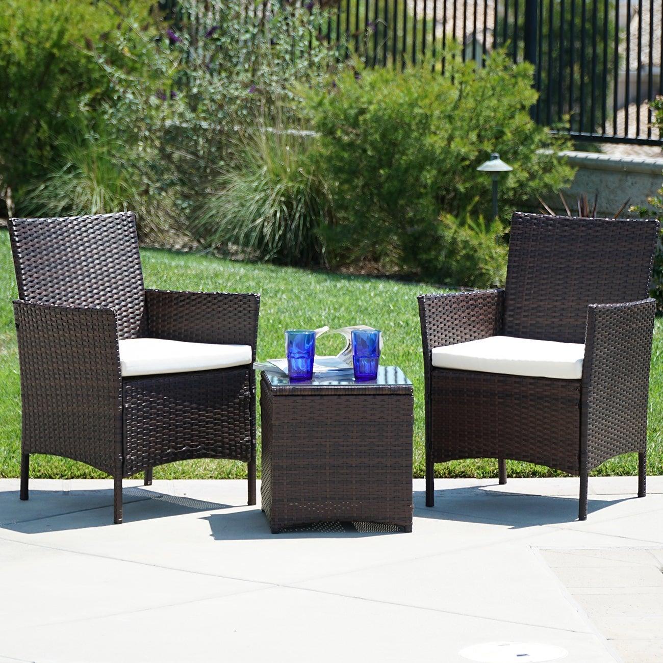 3 PCS Rattan Patio Furniture Set Garden Lawn Chair Cushioned Seat //w Table