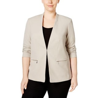 Calvin Klein Womens Plus Casual Blazer Long Sleeve Zip-Pocket