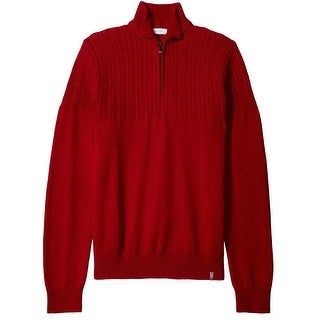 Calvin Klein NEW Mania Red Mens Size Medium M Ribbed 1/2 Zip Sweater