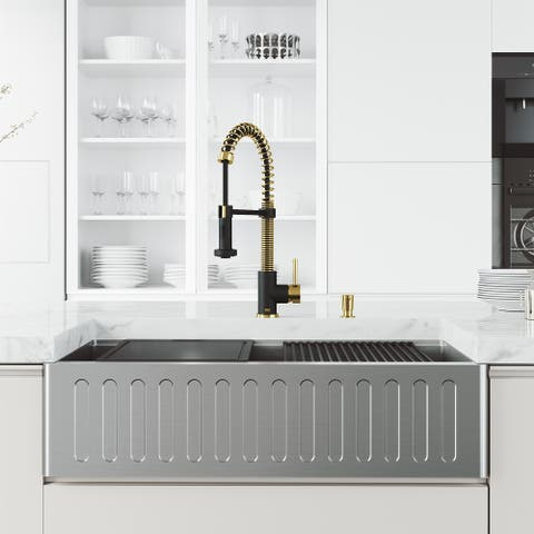 VIGO 36 in. Stainless Steel Slotted Front Farmhouse Kitchen Sink Set and Faucet in Matte Brushed Gold and Matte Black