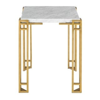 Currey and Company 4198 Zhin Solid Steel Accent Table with Marble Top