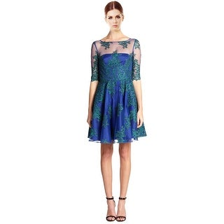 ML Monique Lhuillier Embroidered Lace & Tulle Swing Cocktail Evening Dress - 2