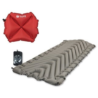 Klymit Static V Luxe Gray Sleeping Pad w/ Pillow X, Red