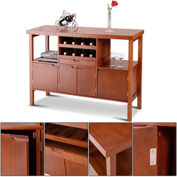 Shop Costway Brown Wooden Buffet Server Table Storage Cabinet