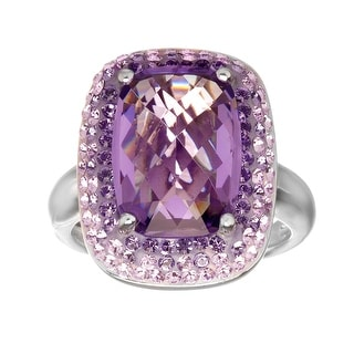 Crystaluxe Ring with Lavender and Lilac Swarovski Crystals in Sterling Silver - Purple