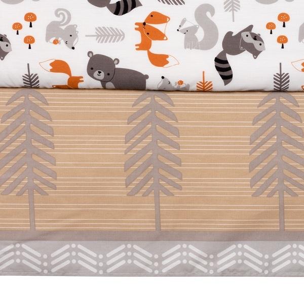 Beige Bedtime Originals Friendly Forest 3-Piece Crib Bedding Set White Brown
