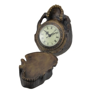 The Time Keeper Hinged Skull Clock Statue - Brown