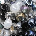 Czech Seed Beads 6/0 ''Top Hat'' Mix Black White Silver (1 Ounce) - Thumbnail 0