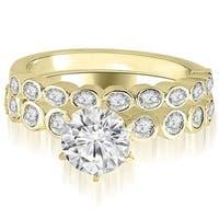 0.94 cttw. 14K Yellow Gold Bezel Set Round Cut Diamond Bridal Set