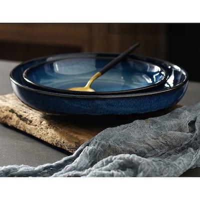 4pc Set Ceramic Deep Round Dessert and Salad Plates - 8inch2pc, 10inch2pc
