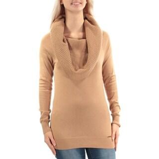 MICHAEL KORS $125 Womens New 1123 Brown Cowl Neck Long Sleeve Sweater S B+B