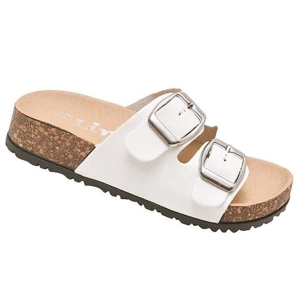 Shop Little Girls White Double Buckle Strap Cork Slipper Sandals ... 361fd7952