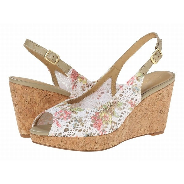 Trotters NEW White Shoes Size 10N Floral Wedges Leather Heels