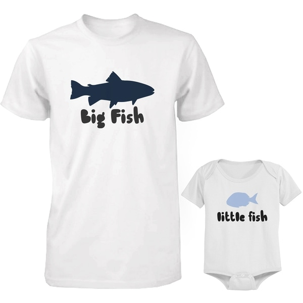 Big Fish and Little Fish Dad and Baby Matching Shirt and Bodysuit