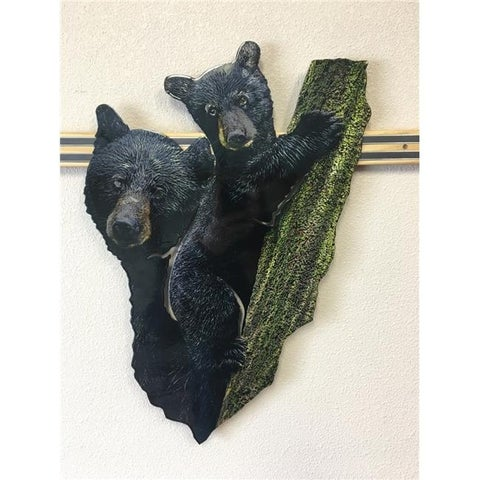 Next Innovations 101210115 23 x 14 in. Black Bear & Cub Metal Wall Art