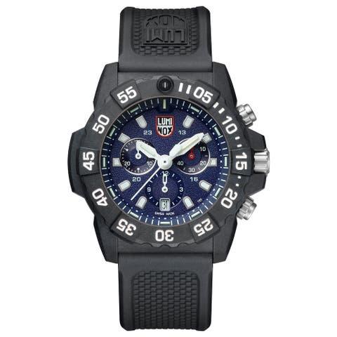 Luminox Men's XS.3583 Navy Seal 45mm Blue Dial Chrono Black Rubber Strap Watch