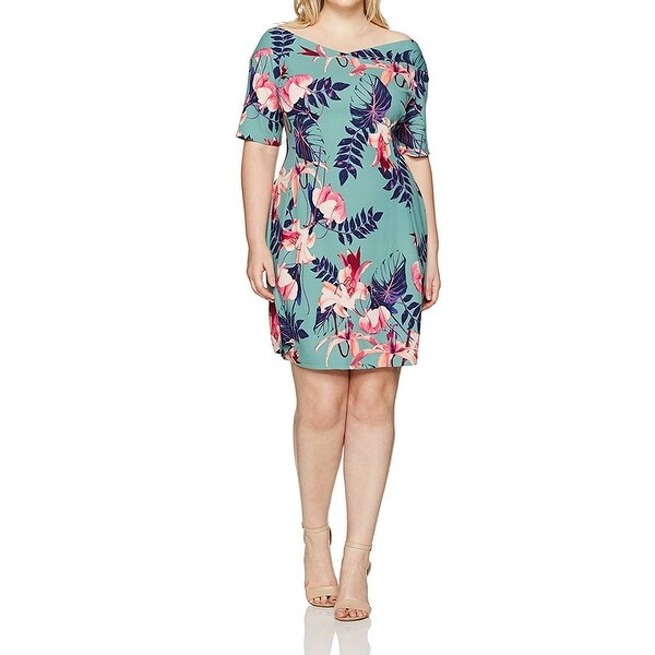 Junarose Green Womens Size 2X Plus Floral V-Neck Sheath Dress