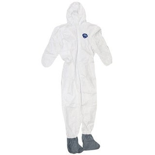 Trimaco 141222 Tyvek Coveralls With Hood & Boots, Large, White, 25/Pack