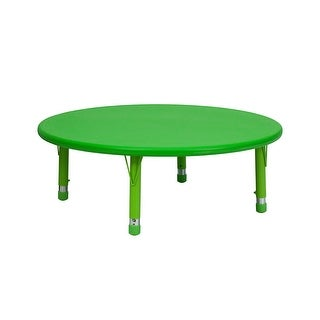 Offex 45'' Round Height Adjustable Green Plastic Activity Table