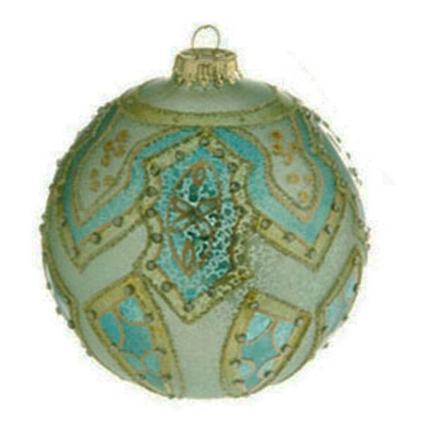 "Green and Blue Matte Jeweled Glittery Glass Ball Christmas Ornament 4"" (100mm)"