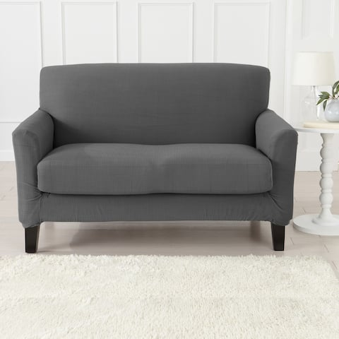 Great Bay Home Popcorn Textured Stretch Love Seat Slipcover