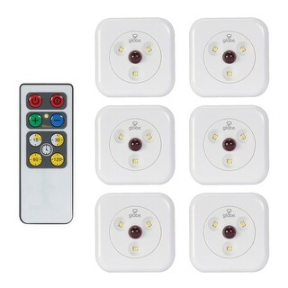 Globe Electric 26044 Set of 6 LED Under Cabinet Dimmable Slim Puck Lights with Remote Control and 3000K Soft White LEDs