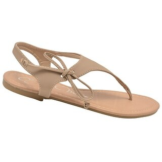 Bella Marie Adult Taupe Lace Up T-Strap Thong Flip Flop Sandals