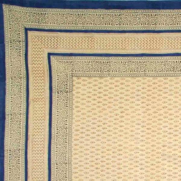 Handmade 100% Cotton Bagru Block Print Tapestry Tablecloth Bedspread Blue Twin Full