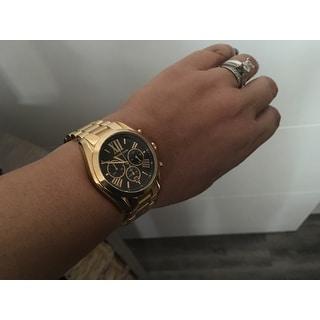 Michael Kors Women's MK5739 'Bradshaw' Goldtone Chronograph Black Dial Watch