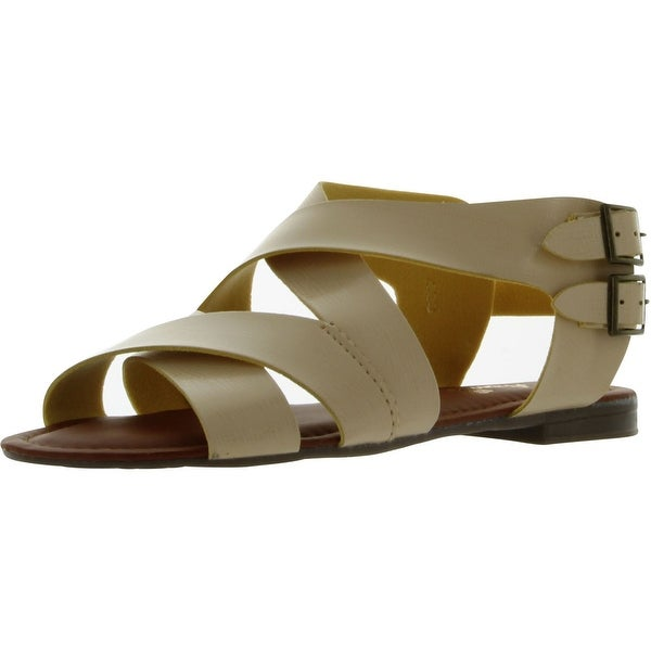 Anna Women's Cutsy-1 Strappy Flat Sandals - Beige - 5.5 b(m) us