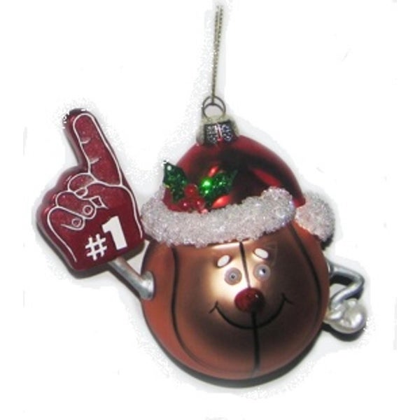 """4.25"""" Noble Gems Glass #1 Basketball with Santa Hat Christmas Ornament - brown"""