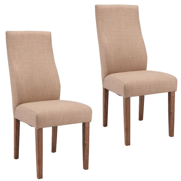 high back upholstered dining room chairs | Shop Costway Set Of 2 Dining Chairs Fabric Upholstered ...