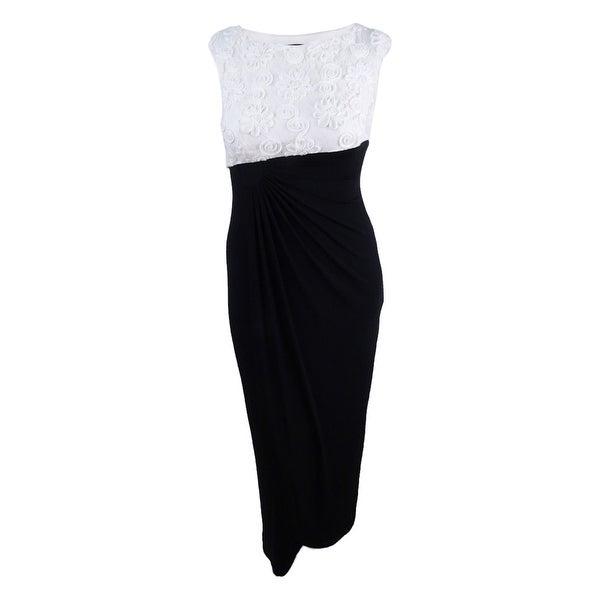Connected Women's Floral Soutache Faux-Wrap Gown - Ivory/Black